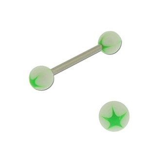 Acrylic Barbell Tongue Ring with Neon Green Star on White Ball