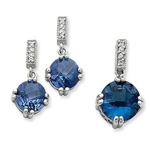 .925 Sterling Silver Blue & Clear CZ Pendant & Earring Set