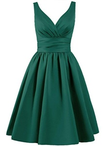 Angel Formal Dresses Women's V Neck Pleated formal party bridesmaid dress (14, Green)