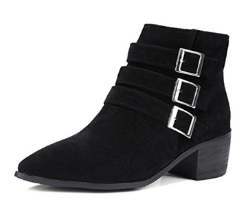 Aisun Women's Fashion Pointed Toe Dress Side Zipper Stacked Medium Heels Booties Shoes Black 10.5 B(M) US