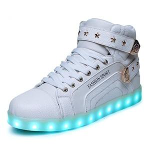 Yaritza PU Leather Shoes Men &Women Casual Sneakers LED Light Up Shoes (US6=EU38, White)