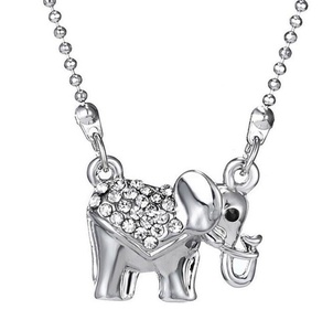 Gudeke Fashion Simple Womens Diamonds Elephant Necklaces Pendant with 45cm Chain