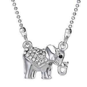Gudeke Fashion Simple Womens Diamonds Elephant Necklaces Pendant with 45cm Chain