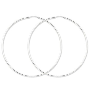 .925 Sterling Silver 82 MM Classic Endless Hoop Earrings