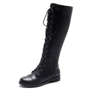 Nine Seven Genuine Leather Women's Round Toe Chunky Heel Lace Up Knee High Handmade Riding Boot (5, black)
