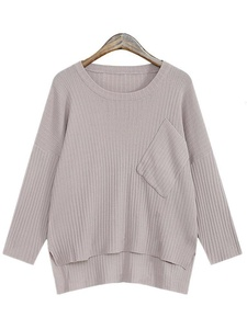 Season Show Womens Knitted Sweater Slit Long Sleeve Pullover Sweater