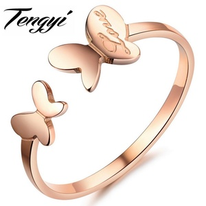 Slyq Jewelry Trendy Jewelry rose gold Plated Butterfly Wedding Ring Valentine's Day Elegant Butterfly Ring TY394