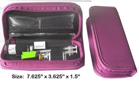 Diabetic Insulin Pen /Syringes Cooler case - for 2's pen or larger pen,w/2pc Ice Packs (Pink-L)