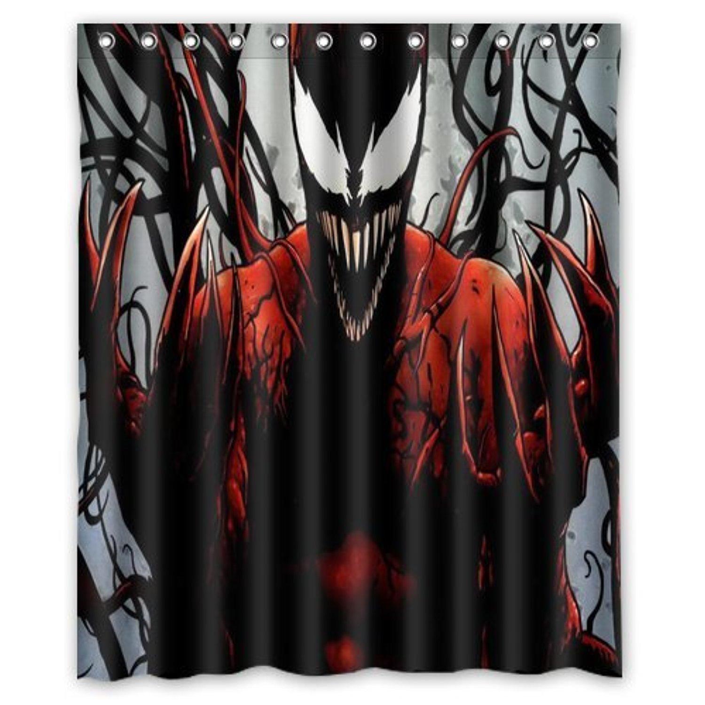 ScottShop Custom Best Anime Dark Spiderman Shower Curtain Decoration Waterproof Polyester Fabric Bathroom Curtains 60 X 72 Inch