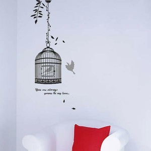 Wall Stickers Removable Wallpaper Art Decals Mural PVC Pattern Bird & Bird's Cage Black Vinyl DIY Decorating Background Living Room Bedroom Office Wall Sticker Home Decor, 50cm x 70cm