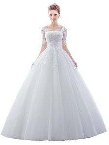 Bridess Women's Square Neck Appliques Ball Gown Wedding Dress with Half Sleeves Ivory 6