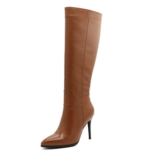 VOCOSI Women's Stiletto Thin High Heel Genuine Leather Pointed Toe Side Zipper Dress Knee High Boots Brown 9 US