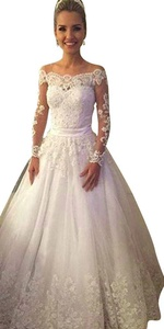 JoyVany Lace Appliques Wedding Dresses 2016 Long Sleeves Sweep Train Ball Gown Ivory Size 4