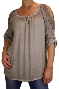 ICE (4073-4) Fade Out Dye Tunic Top Crochet Detail Beige Brown
