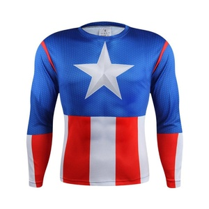 Avengers Captain America Long-Sleeved Sports 3D T-Shirt Gym Cycling Jersey Top (Asian-3XL)