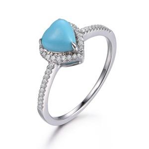 6mm Heart-shaped Turquoise Engagement Ring,Wedding Promise Ring,14K White Gold Diamond Band,Anniversary