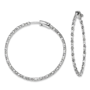 .925 Sterling Silver 53 MM Diamonds In & Out Hoop Earrings