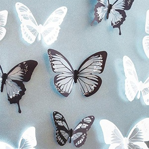 Black & White 18pcs DIY 3D Butterfly Wall Stickers Art Decal PVC Butterflies Home Decor