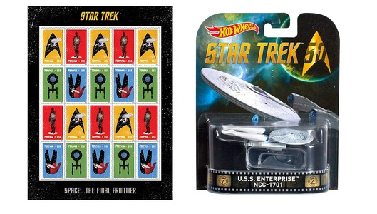 Star Trek Sheet of 20 USPS Forever Stamps and U.S.S. Enterprise 50th Anniv model.