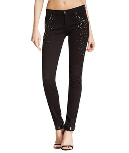 7 For All Mankind Women's Slim Cigarette Crystals With Detailing on Black Jeans (24)