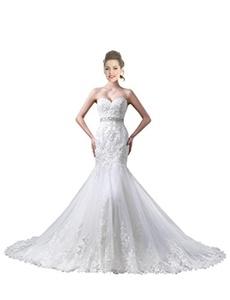 JoyVany Mermaid Wedding Dresses 2016 Lace Wedding Gown with Beaded Belt White Size 14