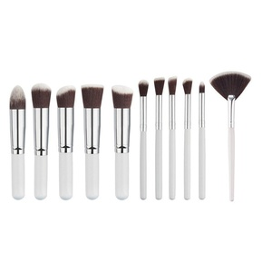LandFox 11Pcs Cosmetic Eyebrow Eyeshadow Brush Makeup Brush Sets Kits Tools,White