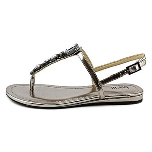 Bar III Women's Blanche Open Toe Synthetic Sandals, Pewter, Size 11.0
