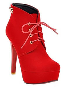 YE Women's High Heel Platform Stiletto Red Sole Suede Lace up Ankle Boots Autumn Winter Short Boots Shoes