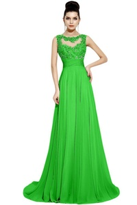Avril Dress Elegant Sleeveless Evening Gown Empire Prom Round Open Back Long-22W-Green