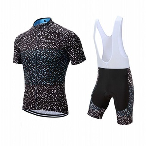 Coconut Pro Team Men's Cycling Jersey Bib Shorts With 3D Padded (Small, Black/White dot)