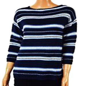 American Living Womens Knit Striped Pullover Sweater Navy M