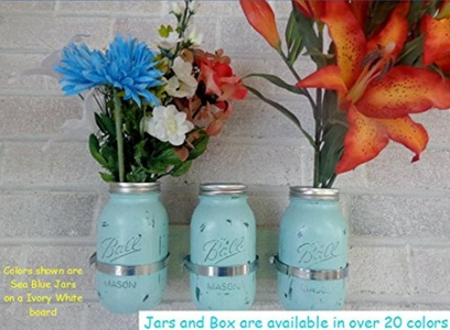 Painted Mason Jar Decor - Mason Jar Gifts - Painted Mason Jars - Mason Jar Wall Decor - Mason Jar Candles, Mason Jar Centerpieces, Mason Jar