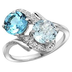 14k White Gold Diamond Natural Swiss Blue Topaz & Aquamarine Mother's Ring Round 7mm, size 5.5