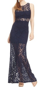 Jump Apparel Stretch Lace Illusion Dress Junior Maxi