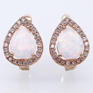 Gold Plated Jewelry Earring Fine Water Drop White Sapphire Opal Hoop Earring Jewelry