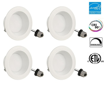 DNY 10W 4 inch Dimmable LED Retrofit Recessed Lighting Fixture 2700K (Warm White), ENERGY STAR LED downlight kit, 60W Equivalent, 4 Packs
