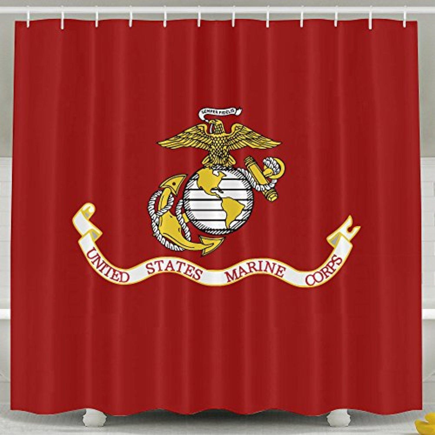 United States Marine Corps USMC High Polyester Hooks Shower Curtains Opaquewaterproof 6072inch In 3 Sizes