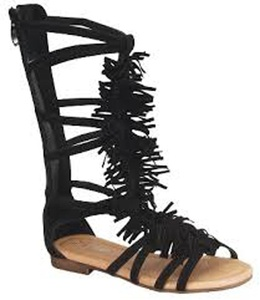 Atta 20k Little Girls Strappy Buckled Fringe Gladiator Flat Sandals Black 2