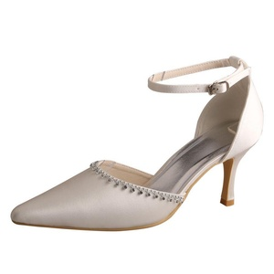 Wedopus MW375 Women's Ankle Strap Pointed Toe Pumps Stiletto Heel Satin Wedding Shoes for Bride Size 5 Ivory