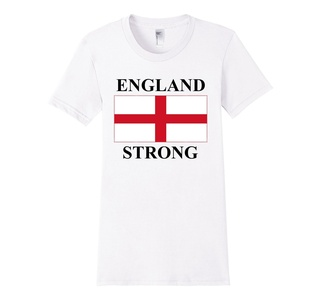 Women's England Flag T-Shirt English Country Tee Large White