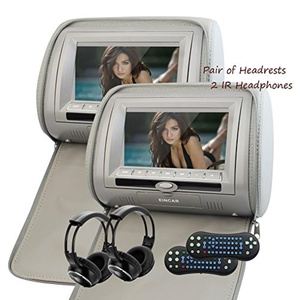 Eincar Upgraded 7 Inch HD 1080P Digital TFT 800480 LCD Screen Pair of Car Headrests DVD Player Raspberry Pi Monitor with HDMI Port and Remote Control and IR Headphone Car Pillows Monitor(Gary)