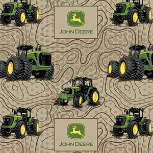FLANNEL John Deere Topographic Tan Fabric From Springs Creative By the Yard