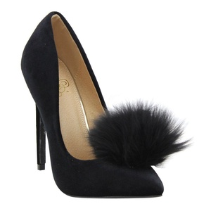 Liliana Affair Velvet Pointy Toe Stiletto High Heel Fur Pom Slip On Pump Slide Shoe Black 10