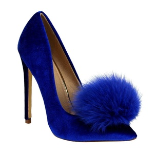 Liliana Affair Velvet Pointy Toe Stiletto High Heel Fur Pom Slip On Pump Slide Shoe Blue 7