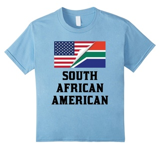 Kids Flags of South Africa And USA South African American T-Shirt 6 Baby Blue