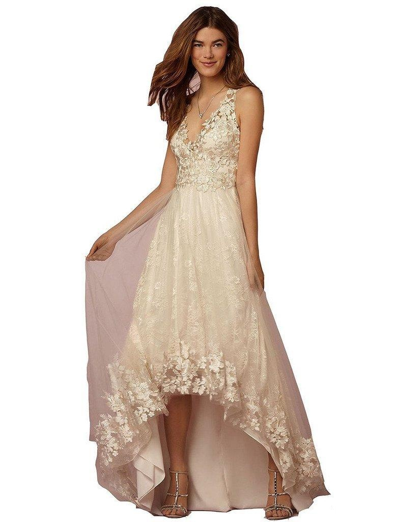 Aurora Bridal 2016 Straps Hi-Lo Wedding Dress Tulle V Neck Evening Gown Ivory 6