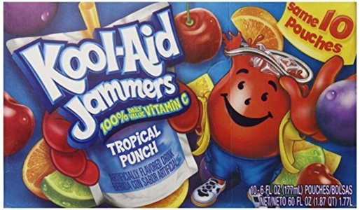 Kool-Aid Tropical Punch Jammers, 10-Count, 6-Ounce Pouches (Pack of 4) by Kool-Aid