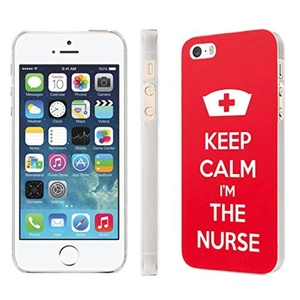 iPhone [SE/5/5S] Phone Case [NakedShield] [Clear] Ultra-Slim Jacket Cover Case - [Keep Calm and I'm The Nurse] for iPhone [SE/5/5S]