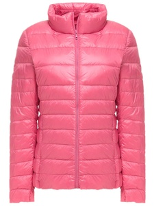 Season Show Women's Packable Light Weight Short Puffer Down Coats Pink S