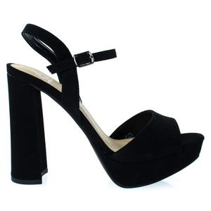 Forest BlackSuede Women Glitter Party Sandal, Chunky Block Heel Platform Open Toe Shoes -6